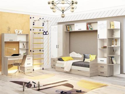 Набор подростковой мебели Эверест 2 Дуб Кронберг/Белый шпон/Плаза Стоун
