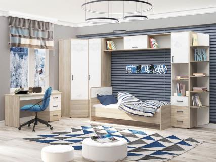 Набор подростковой мебели Эверест 3 Дуб Кронберг/Белый шпон/Плаза Стоун