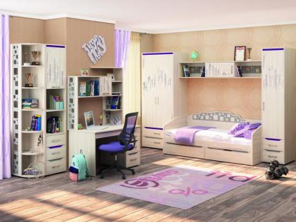 Комплект мебели для комнаты подростка Мегаполис №1 Сосна Астрид